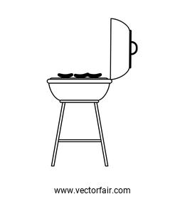 bbq grill with sausages, flat style