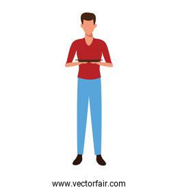 avatar man holding a plate icon, colorful design