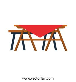 picnic table with tablecloth, flat design