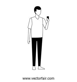 faceless avatar man with a cellphone icon