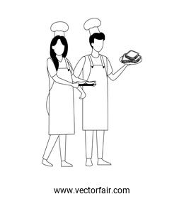 avatar man and woman with chef hat