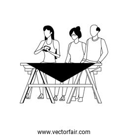 old couple and woman on picnic table icon, flat style