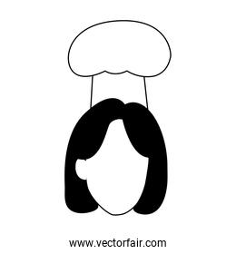 avatar woman with chef hat, flat design
