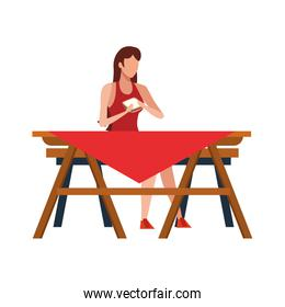 Woman sitting on a picnic table icon, flat design