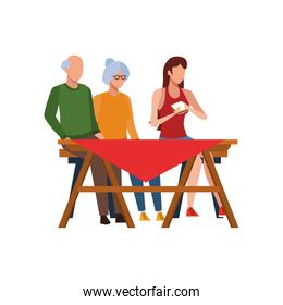 old couple and woman on picnic table icon, flat design