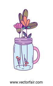Mason jar with flowers and leaves vector design