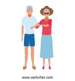avatar old couple wearing beach clothes, flat design