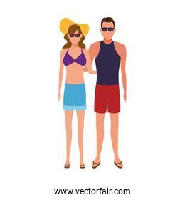 couple with beach clothes and sunglasses