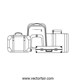 travel suitcases and backpack linear design