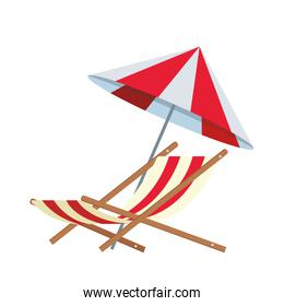 beach parasol and seat icon, flat design