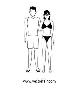 avatar woman and man wearing swimsuit, line style icon