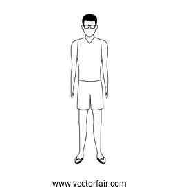 avatar man wearing swimsuit and sunglasses over white