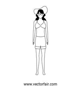avatar woman wearing shorts and beach hat