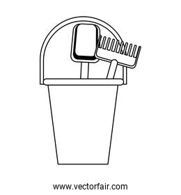 sand bucket and tools icon