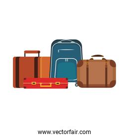 travel suitcases and backpack, flat design