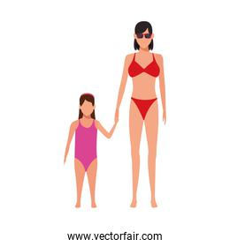 avatar woman and daughter wearing swimsuits