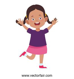 cartoon excited girl icon, flat design