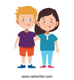 cartoon boy and girl standing icon