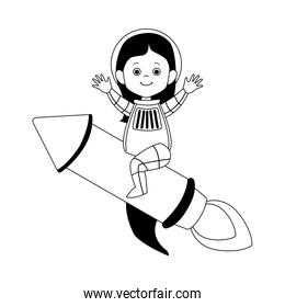 woman astronaut on space rocket icon