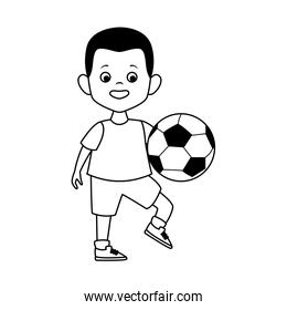 cartoon boy playing with soccer ball in line style