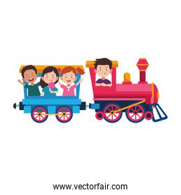 cute kids in a train and wagon icon