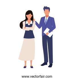 avatar businessman and businesswoman standing icon