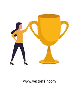 avatar woman with big trophy icon, colorful design