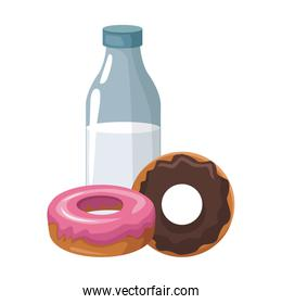 milk bottle and sweet donuts, colorful design