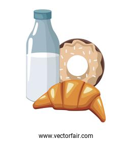 milk bottle with croissant and sweet donut, colorful design