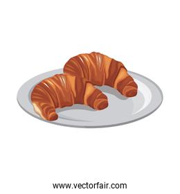 plate with croissants icon, colorful design