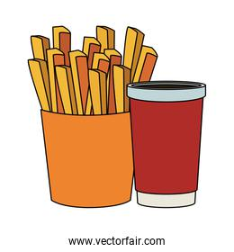 french fries and drink cup, Fast food design