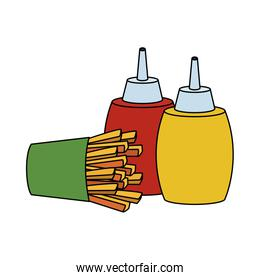 french fries and sauces bottles, fast food design