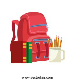 school backpack with books and mugs with pencils, colorful design