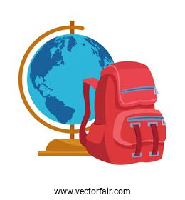 globe and school backpack icon