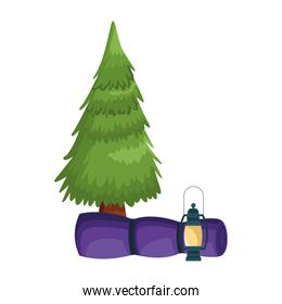pine tree with camping lantern and sleeping bag, colorful design
