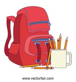 school backpack and mug with pencils