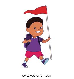 cartoon explorer boy with a flag icon, colorful design