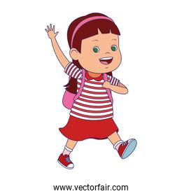 cartoon little girl waving icon