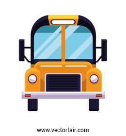 front view of school bus icon, colorful design
