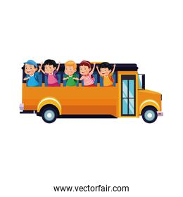 school bus with happy kids icon