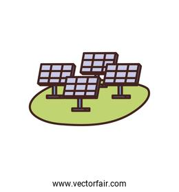 Isolated solar panels fill style icon vector design