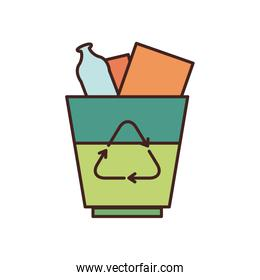Isolated trash with recycle fill style icon vector design