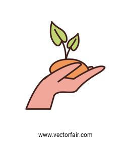 Isolated plant over hand fill style icon vector design
