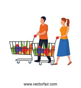 avatar man and woman with supermarket carts, flat design
