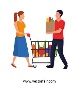man holding a bag and woman with supermarket cart, flat design