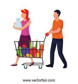 avatar woman and man with supermarket car and bags, flat design
