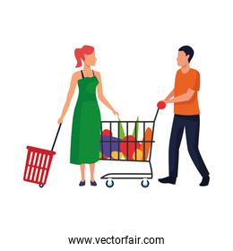 avatar woman and man with supermarket cart and basket