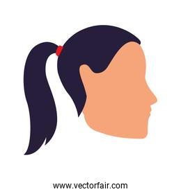 avatar woman with hair tail icon