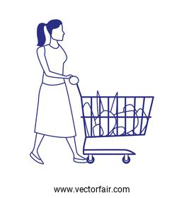 avatar woman with supermarket cart with groceries, flat illustration