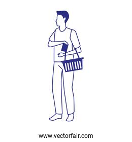 avatar woman with supermarket basket icon